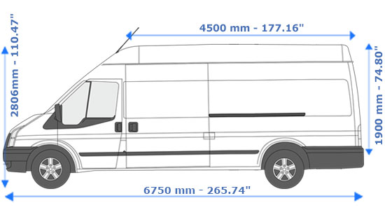 Extra Large Van and Man Hire Bloomsbury - Dimension Side View