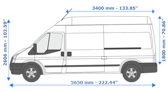 Large Van and Man Hire Cambridge Heath - Dimension Side View