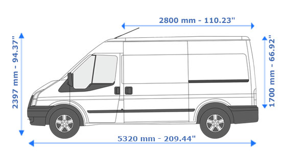 Medium Van and Man Hire Bow Road - Dimension Side View