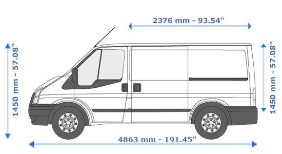 Small Van and Man Hire Cannon - Dimension Side View