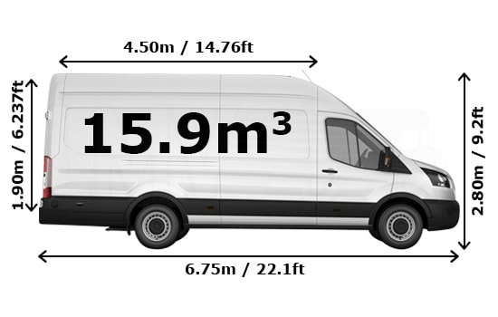Extra Large Van and Man Hire Isleworth - Dimension Side View