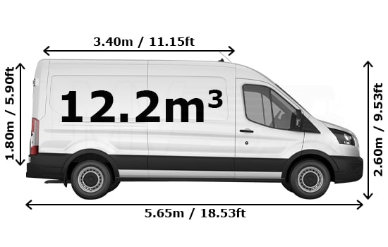 Large Van and Man Hire Enfield Chase - Dimension Side View