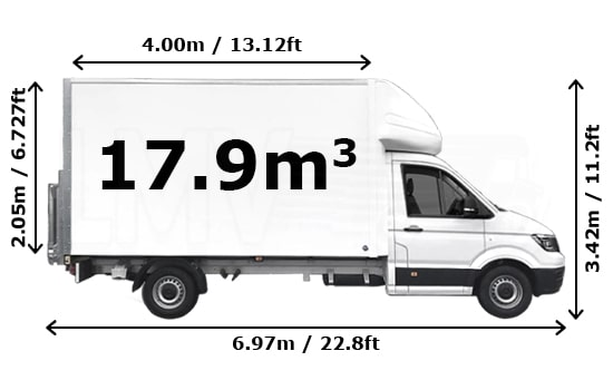 Luton Van and Man Hire Enfield Chase - Dimension Side View