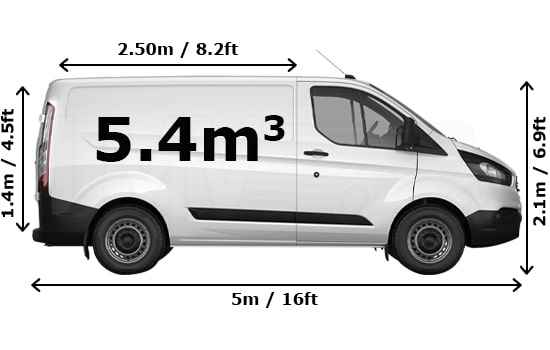 Medium Van and Man Hire Battersea - Dimension Side View