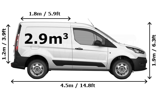 Small Van and Man Hire Enfield Chase - Dimension Side View